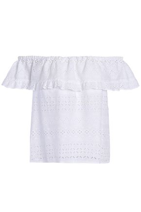 REBECCA MINKOFF Off-the-shoulder ruffled broderie anglaise cotton top