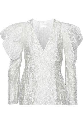 CARMEN MARCH Wrap-effect crinkled coated gazar blouse