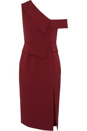 MICHELLE MASON One-shoulder cady peplum dress