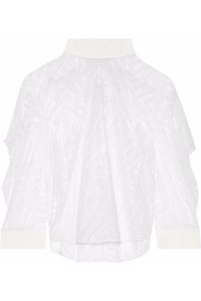 MICHELLE MASON Silk-trimmed ruffled lace top