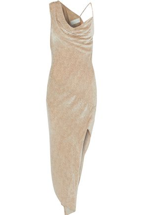 MICHELLE MASON Asymmetric draped flocked chiffon dress