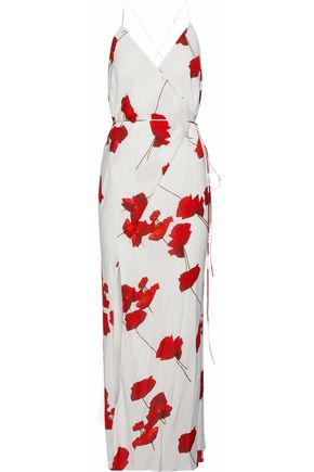 MICHELLE MASON Washed-silk midi wrap dress