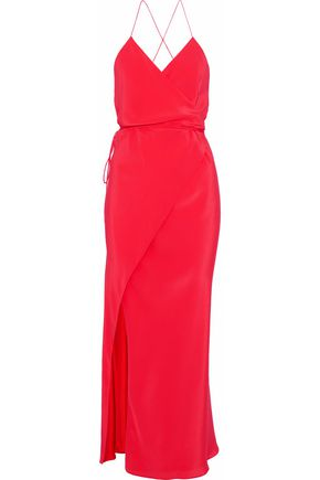 MICHELLE MASON Washed-silk midi wrap dress