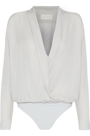 MICHELLE MASON Wrap-effect silk-chiffon bodysuit