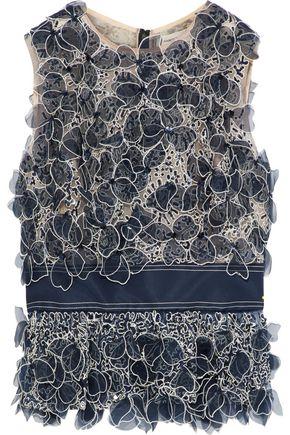 CAROLINA HERRERA Grosgrain-trimmed embellished tulle top