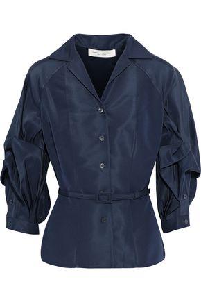 CAROLINA HERRERA Gathered silk-faille top