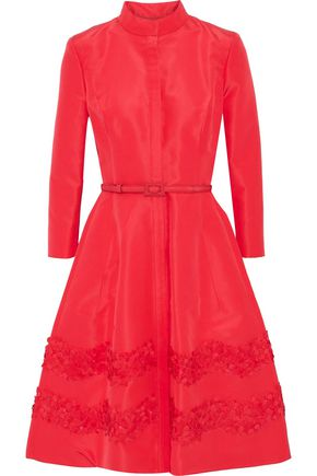 CAROLINA HERRERA Belted embellished silk-faille dress