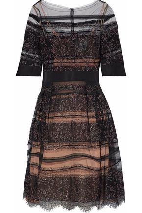 CAROLINA HERRERA Metallic Chantilly lace-paneled tulle and faille dress