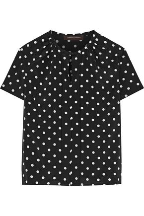 CAROLINA HERRERA Polka-dot silk-crepe top