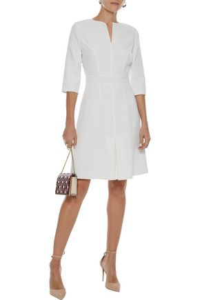 Pleated Wool Crepe Dress by Carolina Herrera