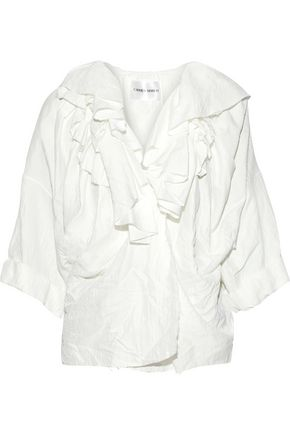 CARMEN MARCH Ruffled crinkled-twill blouse