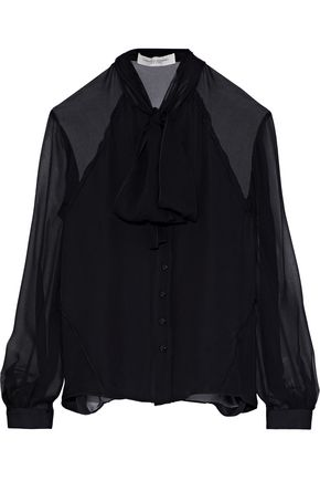 CAROLINA HERRERA Pussy-bow silk-georgette blouse