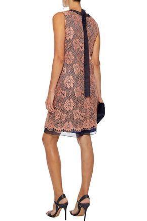 CAROLINA HERRERA Organza-trimmed metallic corded lace dress