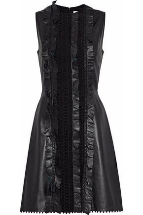 CAROLINA HERRERA Ruffled embroidered tulle and leather mini dress