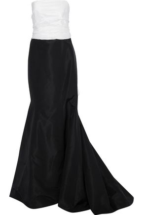 CAROLINA HERRERA Bow-embellished two-tone silk-faille gown