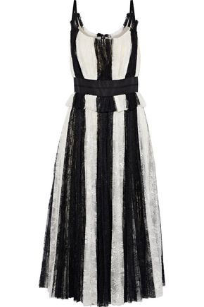 CAROLINA HERRERA Satin-trimmed striped plissé-lace midi dress