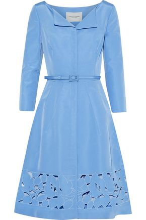 CAROLINA HERRERA Belted broderie anglaise-paneled silk-faille dress