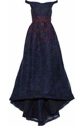 CAROLINA HERRERA Off-the-shoulder embellished wool-blend gown