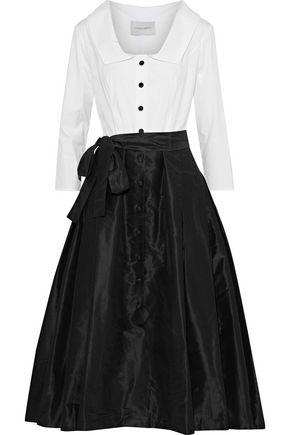 CAROLINA HERRERA Poplin-paneled silk satin-faille midi dress