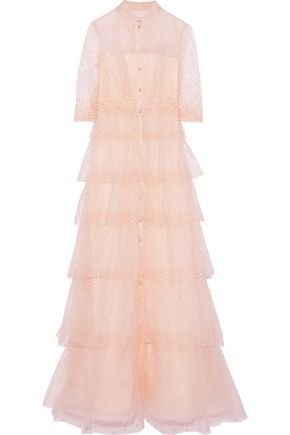 CAROLINA HERRERA Tiered sequined tulle gown