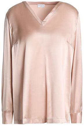 BRUNELLO CUCINELLI Bead-embellished silk-blend satin blouse