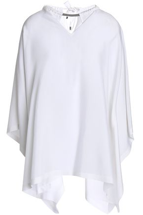 BRUNELLO CUCINELLI Asymmetric bead-embellished silk-blend top