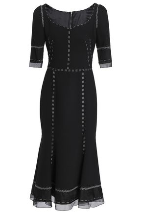DOLCE & GABBANA Organza-paneled wool-blend midi dress