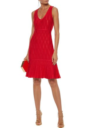 HERVÉ LÉGER Fluted crochet-knit dress