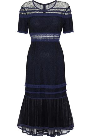JONATHAN SIMKHAI Tulle-paneled corded lace dress