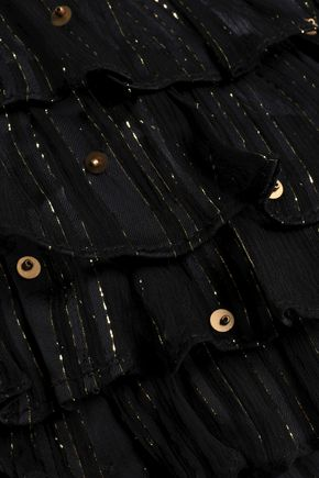 DODO BAR OR ラッフル付き 刺繍入り クレポン ワンピース