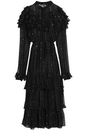 DODO BAR OR Belted ruffled embellished chiffon midi dress