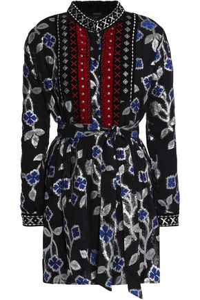 DODO BAR OR Belted embellished fil coupé mini dress