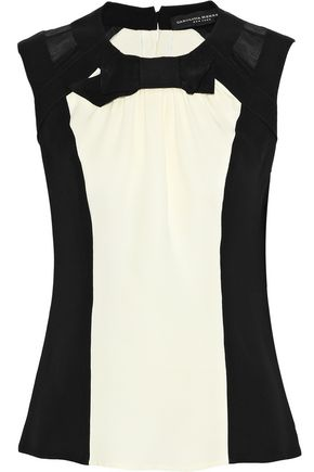 CAROLINA HERRERA Organza-paneled bow-embellished silk-crepe blouse