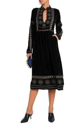 DODO BAR OR Metallic embroidered chenille midi dress