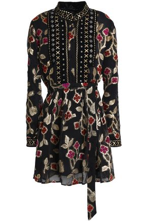 DODO BAR OR Belted embellished fil coupé mini dress