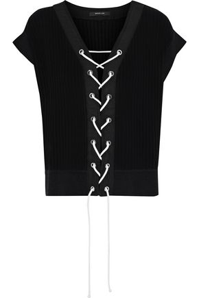 DEREK LAM Lace-up ribbed cotton and silk-blend top