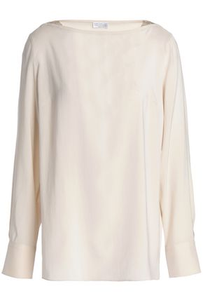 BRUNELLO CUCINELLI Bead-embellished stretch-silk top