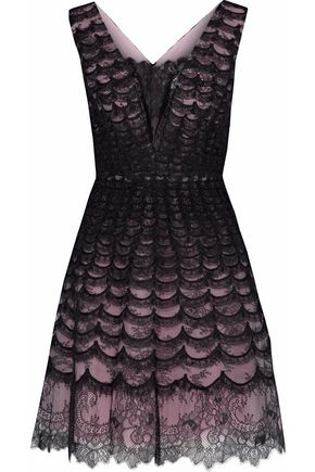 CAROLINA HERRERA Flared Chantilly lace dress