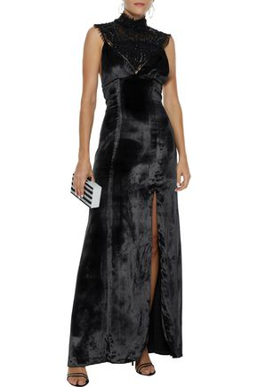 HAUTE HIPPIE Embellished Chantilly lace-paneled velvet gown