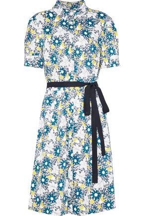 CAROLINA HERRERA Belted floral-print stretch-cotton shirt dress
