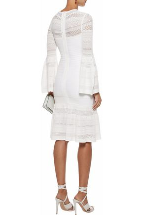 HERVÉ LÉGER Fluted crochet knit-paneled bandage dress