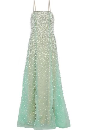 CAROLINA HERRERA Embellished silk-organza gown