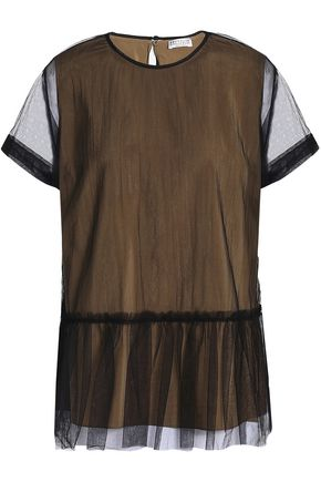 BRUNELLO CUCINELLI Layered gathered tulle and silk-blend top