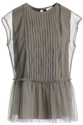 BRUNELLO CUCINELLI Pintucked stretch-silk tulle peplum top