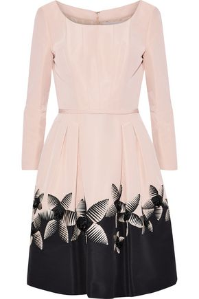 CAROLINA HERRERA Embellished pleated silk-faille dress