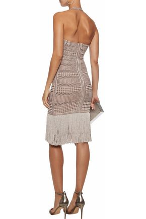 HERVÉ LÉGER Wrap-effect metallic fringe-trimmed stretch-knit halterneck dress