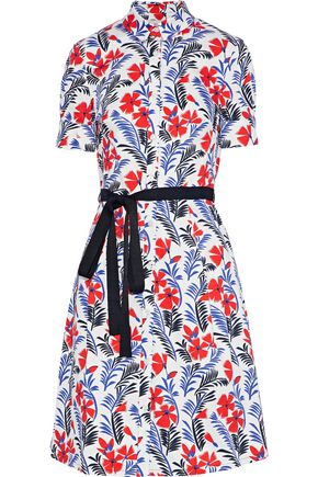 CAROLINA HERRERA Belted floral-print twill shirt dress