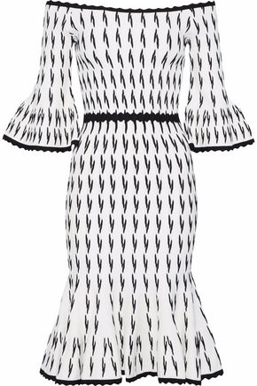 HERVÉ LÉGER Off-the-shoulder fluted jacquard-knit dress