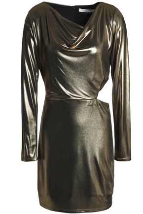 HALSTON HERITAGE Cutout draped lamé mini dress