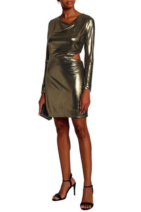 HALSTON HERITAGE Cutout draped lamé mini dress